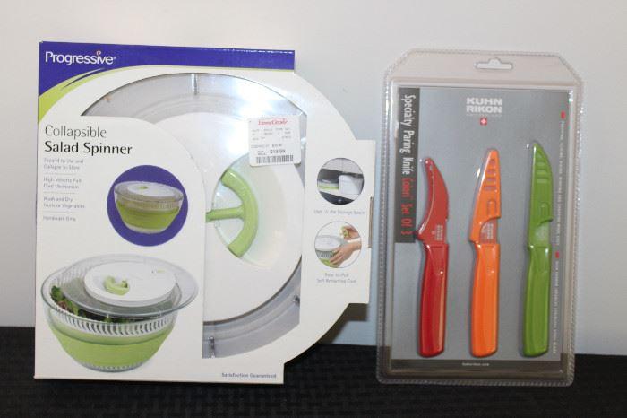 Salad spinner and paring knives