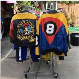 North Beach leather 8 ball jacket and  Vintage 90s Jeff Hamilton Mickey Mouse Wild one jacket