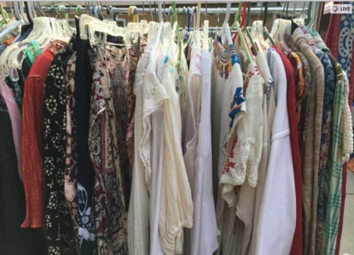 Rack of indian cotton dresses and tops