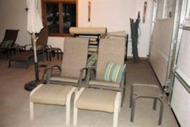 2 outdoor chiars foot stools