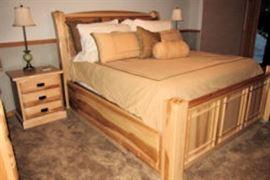 beige queen bed