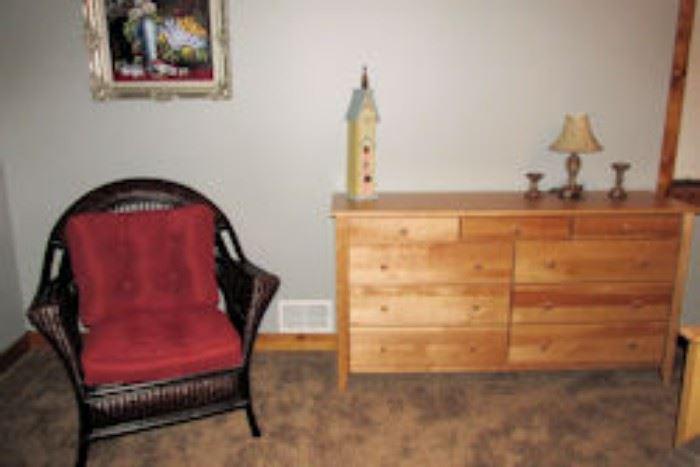 dresser red chair