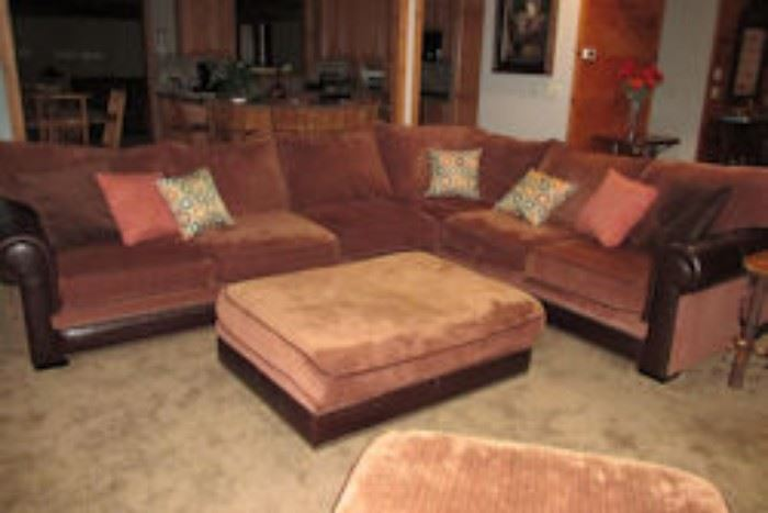leather courderoy sectional
