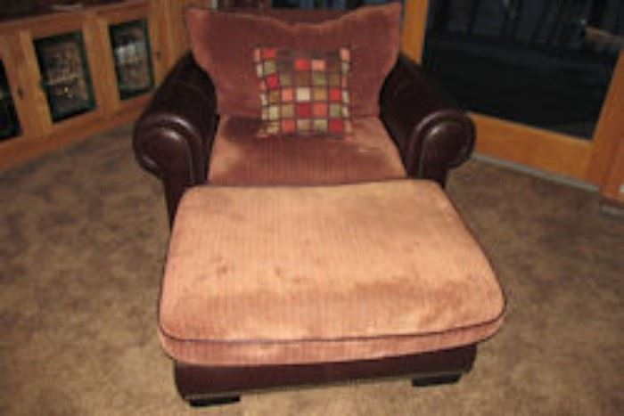 leather courderoy arm chair