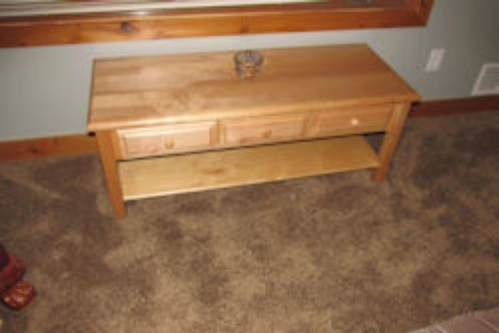 low three drawer table