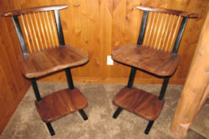 two cantalevered bar stools