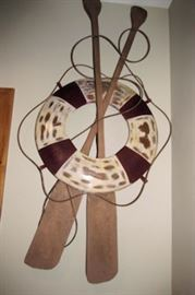 x life ring paddles wall art