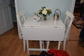 White Drop Leaf Table, Two Chairs, Home Decor