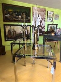 Pair of MasterCraft  side tables with Italian mid century brass and chrome lamps