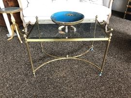 La Barge brass tray table with antique gilt and blue painted wood compote