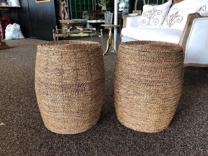 Pair of woven stools/puffs