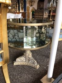 Gold vein mirror table. Table does swivel!