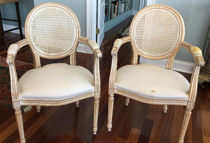 Pair of French Louis style chairs. 2 matching armless chairs available and sold separately