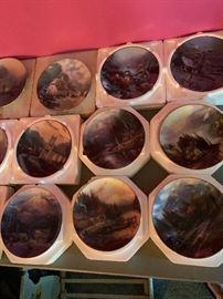 Thomas Kinkade plates from Bradford Exchange, multiple series