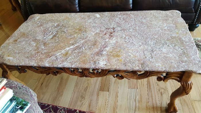 Marble wood carved coffee table