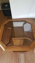Wood glass end table