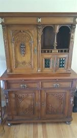 Very old hand carved wooden hutch bought at auction from Florida estate