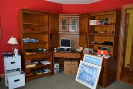 Desk, Shelving Unit, Computer, Office Supplies, 2 Drawer Filing Cabinet, Wall Art, Lamp