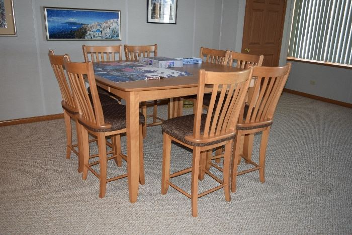 Counter Height Dining Table, 8 Chairs