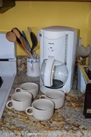 Krups Coffeemaker, Cups, Wooden Utensils