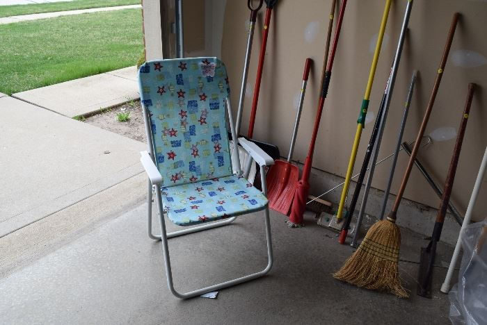 Lawn Chair, Shovels, Brooms