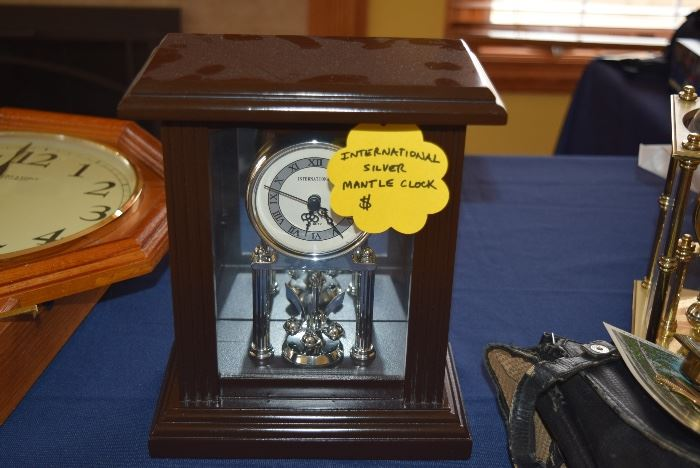 International Silver Mantle Clock