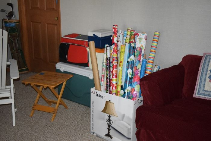 Cooler, Folding Table, & Wrapping Paper