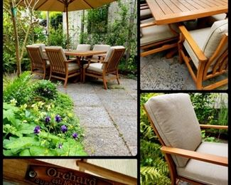 Orchard Supply Hardware faux teak (aluminum patio set with umbrella and full cushions