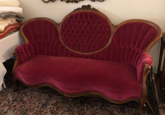 1880's red velvet sofa - mint