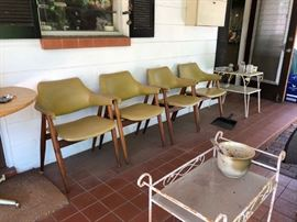 Mid Century teak and molded seat chairs