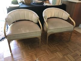 Unusual decorative chairs - mid century with metal legs