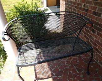 Wrought iron patio bench