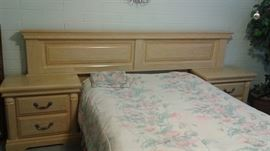 Full bedroom set includes bed frame, Dresser with mirror and armoire