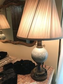 Set of Painted Porcelain and Metal Lamps, with Silk Shades