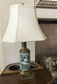 Set of Painted Porcelain and Brass lamps with Silk Shades