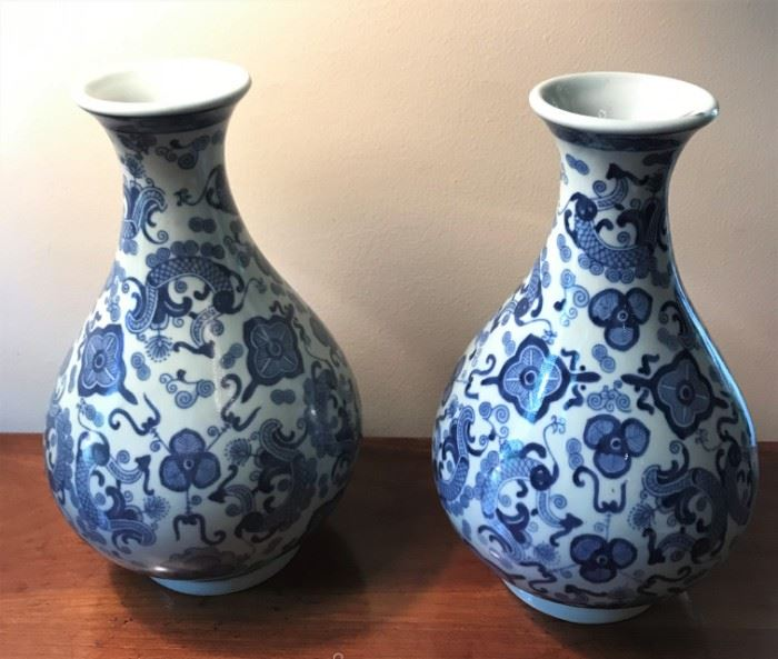 Chinese Blue and White Meiping Vases