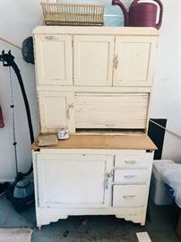 Vintage Hoosier cabinet with flour bin & tin bread box - in need of some TLC