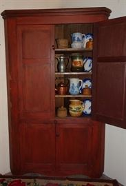 Early Blind Door Corner Cupboard In Old Red Paint