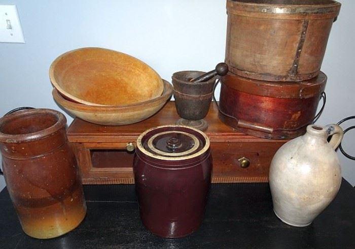 Wooden Bowls, Pantry Box, Measurer, Stoneware