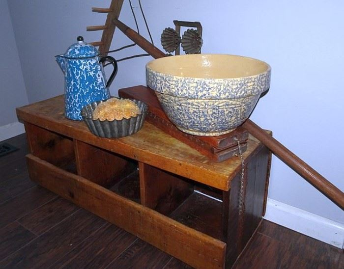 Wooden & Tin Ware, Stoneware, Country Primitives