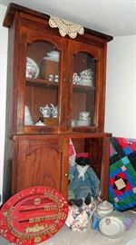 Child's Oak Step Back Cupboard, Child's Dishes, Dolls, Black Americana Dolls