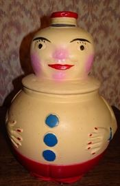 Clown Pottery Cookie Jar