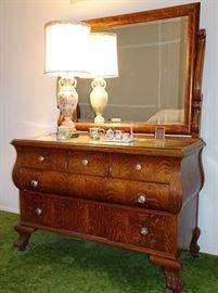 Oak Claw Foot Dresser With Mirror