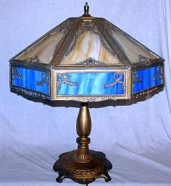 Slag Glass Parlor Lamp