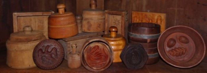 Collection of Wooden Butter Molds, Butter Prints & Springerlee Boards
