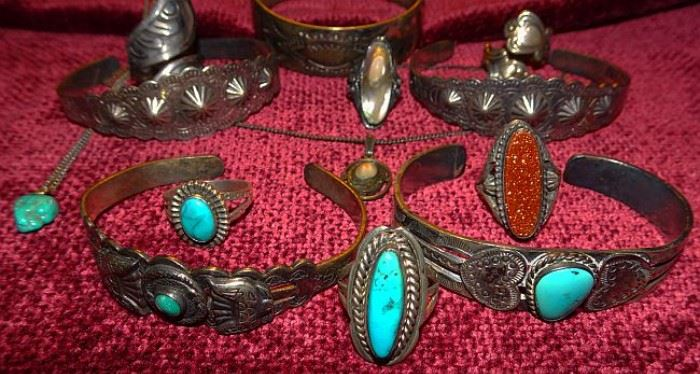 Sterling, Turquoise & Indian Jewelry