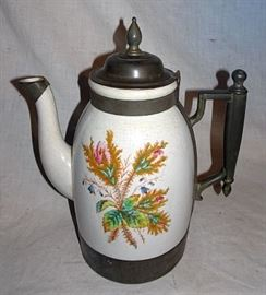 Moss Rose Ironstone & Pewter Coffee Pot, St. Louis, MO