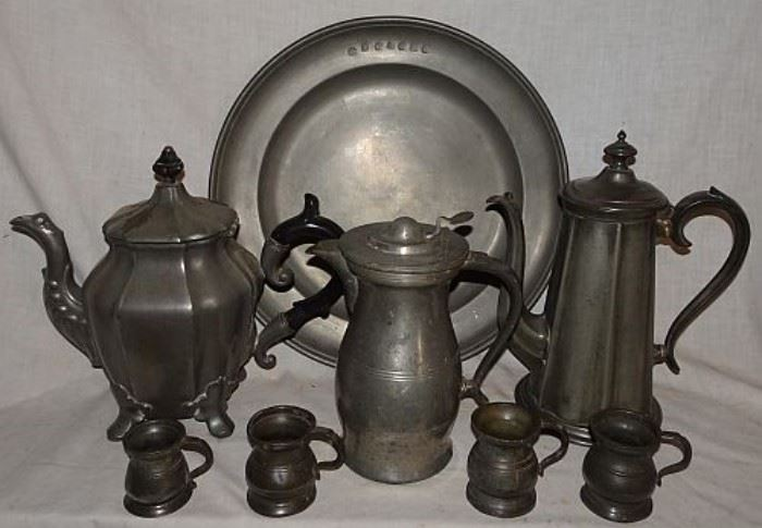 Early Pewter Incl. Charger, Coffee Pots, Measurers