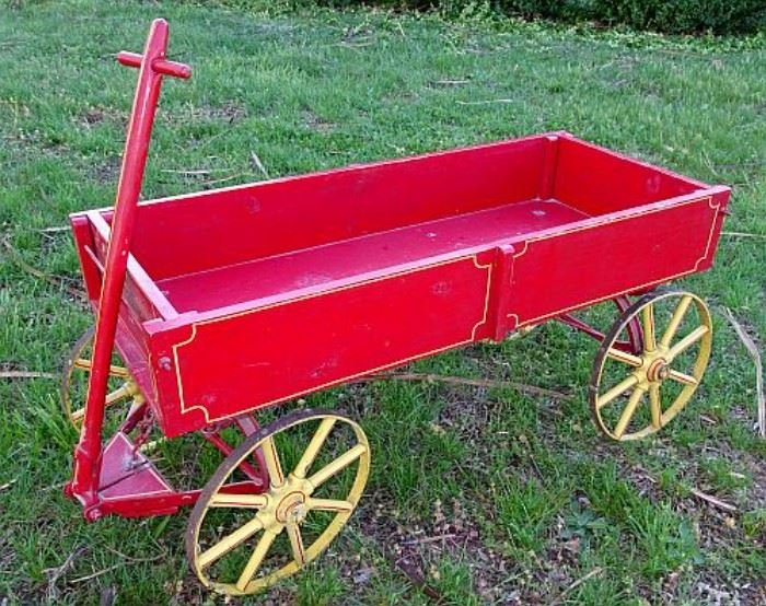 Child's Red Wooden Wagon