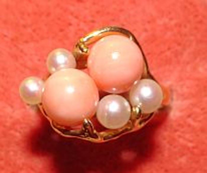 14K Coral & Pearl Ring